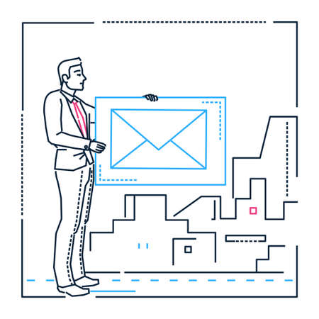 Businessman with a letter - line design style illustration on white urban background. Image of a young smart man, manager, employee holding a big sign of an email in his hands. Business correspondence