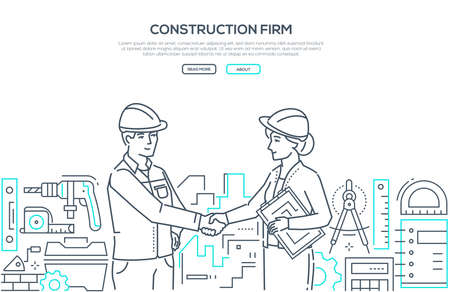 Construction firm - modern line design style banner on white background with copy space for text. A composition with a male worker in helmet and overall shaking hands with a female architect, builder. 向量圖像