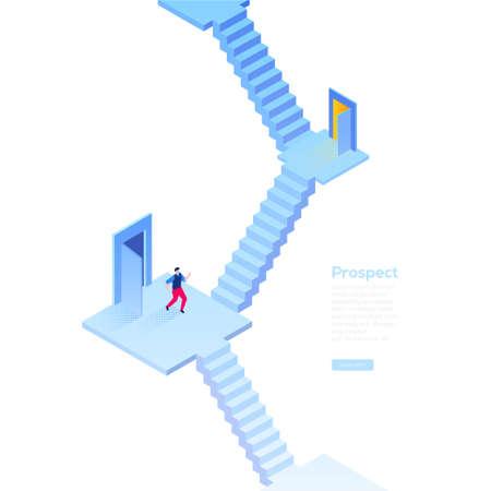 Prospettiva di affari - banner web moderno vettore isometrico su sfondo bianco con copia spazio per il testo. Illustrazione di alta qualità con uomo d'affari in piedi sulla scala, pensando a dove andare