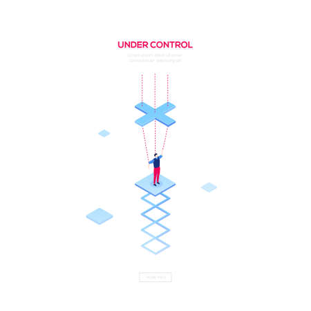 Under control - modern isometric vector web banner on white background with copy space for text. High quality composition with businessman being a marionette, string puppet. Manipulation concept