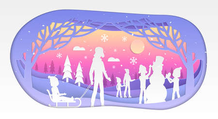 Winter holiday - modern vector paper cut illustration on white background. A composition with children and parents building a snowman, skating, tobogganing, building snowman. Perfect as greeting card