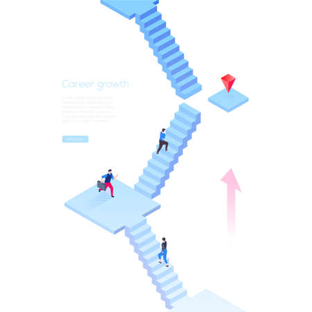 Career growth - modern isometric vector web banner on white background with copy space for your text. High quality composition with business people running up the staircase, trying to reach the goal