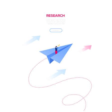 Geschäftsforschung - modernes isometrisches Vektor-Web-Banner auf weißem Hintergrund mit Kopierraum für Text. Hochwertige Illustration mit Geschäftsmann, der auf einem Papierflugzeug fliegt und durch ein Fernglas schaut