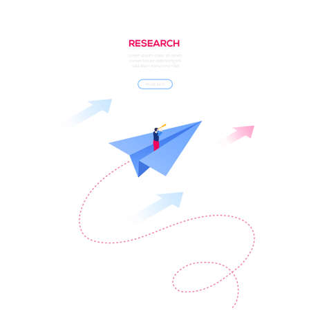 Investigación empresarial - banner web moderno vector isométrico sobre fondo blanco con espacio de copia de texto. Ilustración de alta calidad con el empresario volando en un avión de papel, mirando a través de un binocular