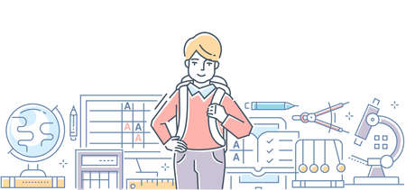 École - illustration vectorielle de ligne colorée design style. Composition linéaire de haute qualité avec un garçon heureux avec un sac prêt à aller à la leçon. Différentes matières scolaires. Éducation, concept d'apprentissage Vecteurs