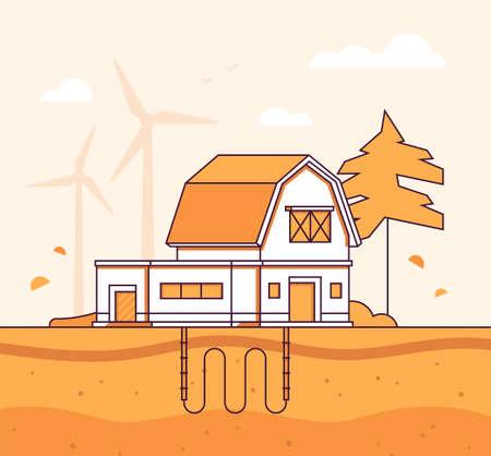 Barn with sewage system - modern line design style vector illustration Illustration