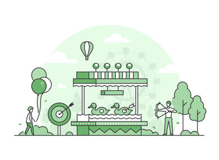 Shooting gallery - thin line design style vector illustration on white background. High quality green colored image with people hitting the target, walking in the amusement park. Entertainment concept