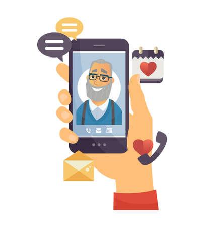 Llamada del abuelo - ilustración de personaje de dibujos animados de vector moderno sobre fondo blanco. Una composición con una mano que sostiene un teléfono inteligente con un hombre mayor en la pantalla, iconos temáticos, chat, cámara, correo electrónico