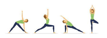 Yoga positions - modern vector cartoon character set isolated on white background. High quality composition with a young woman, girl practicing, doing exercises, asanas. Healthy lifestyle concept