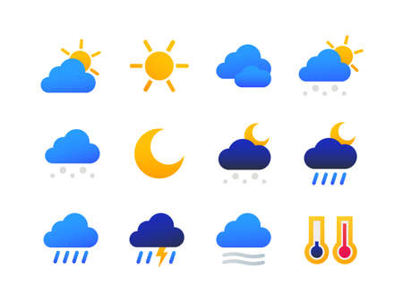 Weather types symbols - set of flat design style icons on white background. High quality bright colorful images of thermometer, cloudy, rainy, snowy, windy, lightning, day, night. Forecast concept