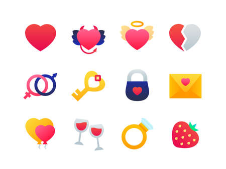 Love and romance - set of flat design style icons on white background. High quality colorful bright images with different hearts, glasses, strawberry, email, wedding ring, lock, key, gender symbols