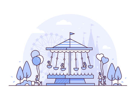 Carousel - thin line design style vector illustration on white background. High quality purple colored composition with a merry go round, people walking, big wheel silhouette. Funfair, leisure concept Illustration