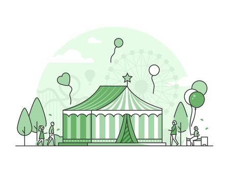Circus - thin line design style vector illustration on white background. High quality green colored composition with a tent, pavilion, people walking in the amusement park. Entertainment concept