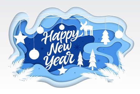 Feliz año nuevo - ilustración de corte de papel de vector moderno con texto de caligrafía. Composición inusual de alta calidad con adornos navideños festivos, bolas. Perfecto como tarjeta, presentación, banner.