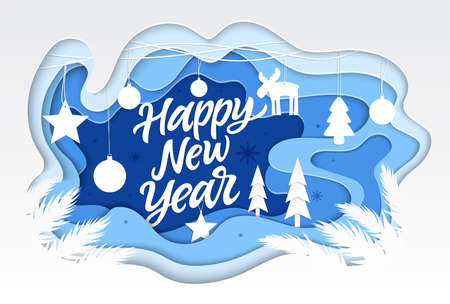 Happy New Year - modern vector paper cut illustration with calligraphy text. High quality unusual composition with festive Christmas decorations, balls. Perfect as a card, presentation, banner Çizim