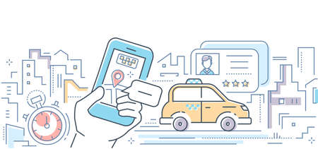 Taxi mobile app - colorful line design style vector illustration on white background. Concept of online service for ordering a car in the city via smartphone. Urban landscape, driving license, timer