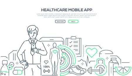Healthcare mobile app - modern line design style web banner on white background. High quality composition with a young man checking his smartphone, using application to control his health condition