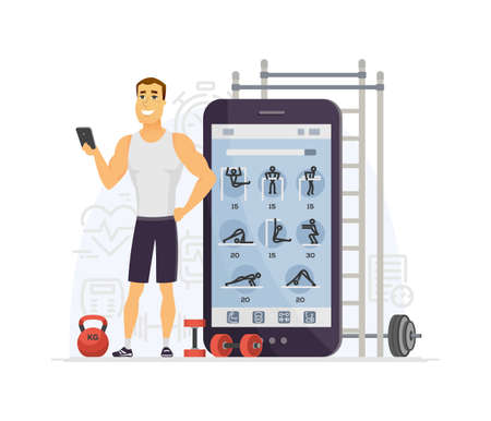 Fitness app - modern vector cartoon character illustration isolated on white background. Composition with young sportive man using mobile service to do exercises, workout, keep fit. Healthy lifestyle