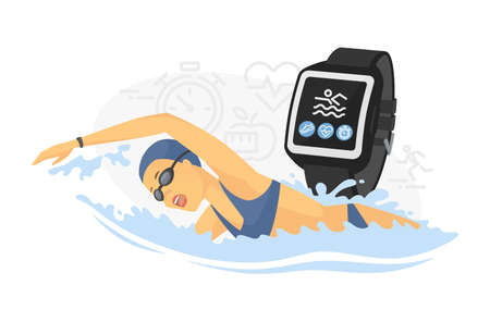 Swimming - colorful line design style vector illustration on white background. Young woman training in the pool, using smart watch, wearable technology to check progress, time, health indicators