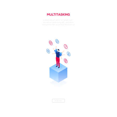 Multitasking concept - modern isometric vector web banner on white background with copy space for text. An image of businessman juggling with tasks, icons, like button, geo location, profile, favorite Illustration