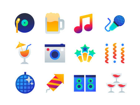 Party - set of flat design style icons on white background. High quality bright images with cocktail, glasses, disco ball, speakers, microphone, note, beer, popper, holiday decorations, vinyl record Illustration