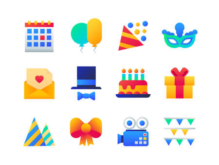 Birthday party - set of flat design style icons on white background. Bright images with a calendar, balloons, popper, carnival mask, love letter, top hat and bow tie, cake with candles, present, camera, flags Stock Vector - 128175509