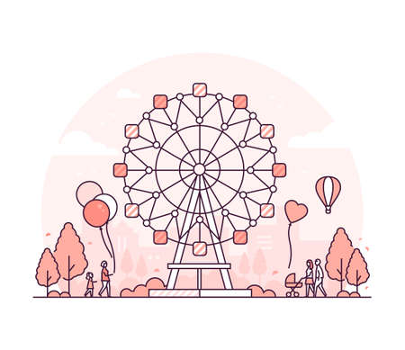 Big wheel - thin line design style vector illustration on white background. High quality red colored composition with a carousel, people walking in the amusement park. Funfair, leisure concept Illustration