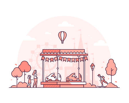 Carousel - thin line design style vector illustration on white background. High quality red colored composition with a carting for children, attraction, people in the amusement park. Leisure concept