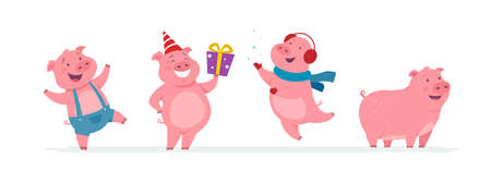 New year pigs - cartoon characters set isolated on white background. Smiling cheerful farm animals jumping, standing with presents, wearing ear warmers, jumpsuit. Perfect for banners, presentations Vektorgrafik