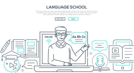 Language school - modern line design style banner on white background with copy space for text. Composition with a male teacher giving a lesson online, images of books, tutorials, earphones, laptop