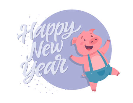 Happy New Year - modern cartoon character illustration on white background with calligraphy tex. High quality image of a happy pig wearing jumpsuit. Winter holiday symbol. Perfect for greeting cards