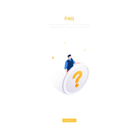 FAQ section - modern isometric vector web banner on white background with copy space for text. High quality image with a man, manager holding a big button with question mark. Perfect for mobile apps