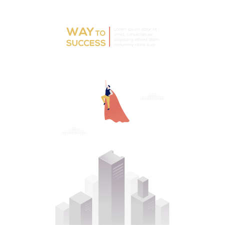 Way to success - modern isometric vector web banner  イラスト・ベクター素材