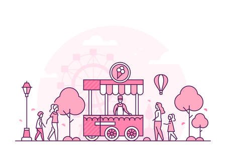 Amusement park - thin line design style vector illustration on white background. Pink colored composition with a man selling ice cream, people, citizens walking, big wheel silhouette. Leisure concept
