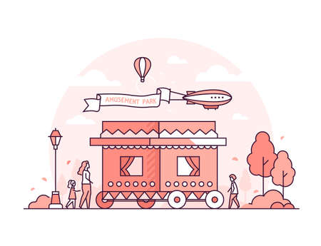 Amusement park - thin line design style vector illustration on white background. High quality red colored composition with a funfair, people walking, airship in the sky. Leisure, recreation concept