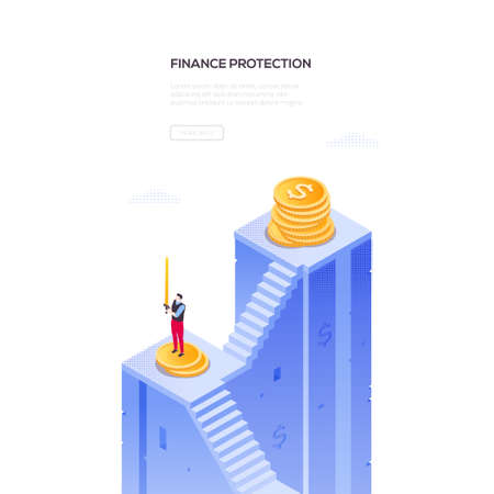Finance protection - modern isometric vector web banner on white background with copy space for your text. A composition with businessman standing on the staircase holding a sword, images of coins Standard-Bild - 128175532