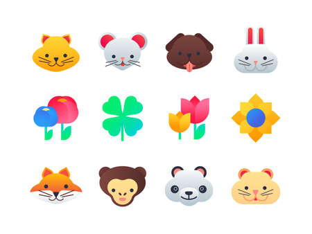Animals and flowers - set of flat design style icons on white background. High quality bright emojis with cute cat, dog, rabbit, mouse, fox, monkey, panda, hamster and clover, tulips, sunflower