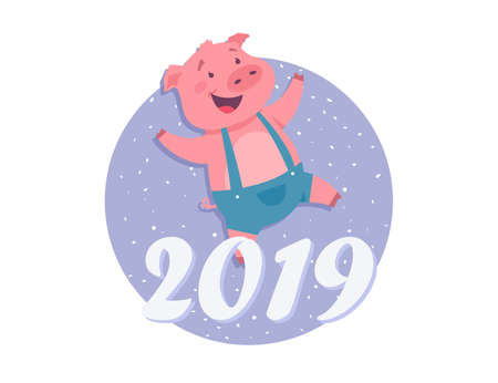 Happy New Year 2019 - modern cartoon character illustration on white background. An image of a happy pig wearing jumpsuit, skipping. Winter holiday symbol. Perfect for greeting cards, invitations