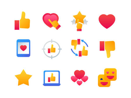 Likes and dislikes - set of flat design style icons on white background. High quality colorful bright images, chat elements with different hearts, thumb up and down, stars, ratings, smartphone, laptop