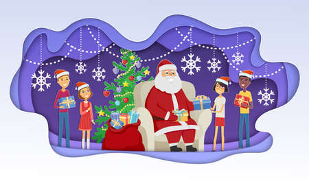 Santa meets children - modern vector paper cut illustration with cartoon characters. Unusual composition with Father Frost giving presents to kids. Perfect as a card, presentation, banner