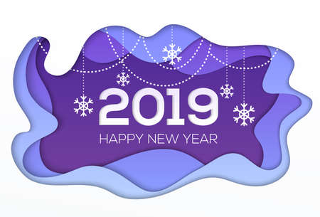 Happy New Year 2018 - modern vector paper cut illustration on white background. Minimalistic purple composition with carving art, Christmas decorations. Perfect as a card, presentations, banners Illusztráció