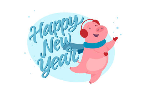Happy New Year - modern cartoon character illustration on white background with calligraphy tex. High quality image of a cute jumping pig in ear warmers playing with snowflakes. Winter holiday symbol