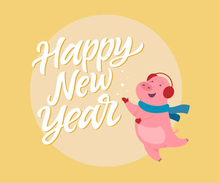 Happy New Year - modern cartoon character illustration on yellow background with calligraphy tex. High quality image of a cute jumping pig in ear warmers playing with snowflakes. Winter holiday symbol Illusztráció
