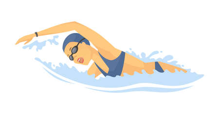 Swimming woman - modern colorful vector cartoon character illustration on white background. High quality composition with young female swimmer training in the pool. Healthcare, water sport concept
