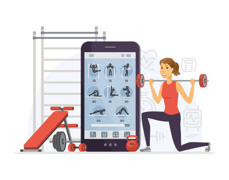 Fitness app - modern vector cartoon character illustration isolated on white background. Composition with young sportive woman training with barbell, using mobile service to keep fit. Healthy lifestyle
