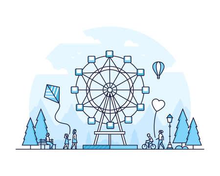 Big wheel - thin line design style vector illustration