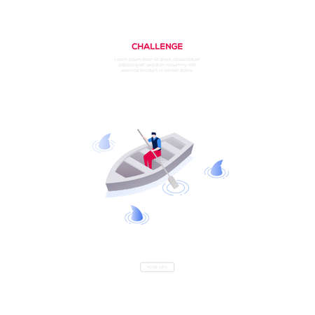 Challenge concept - modern isometric vector web banner on white background with copy space for your text. High quality illustration with businessman, manager rowing a boat in the pool full of sharks Ilustração