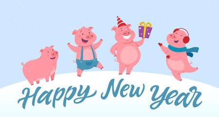 Happy New Year - modern cartoon character illustration Archivio Fotografico - 109587124