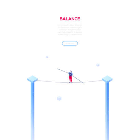 Balance concept - modern isometric vector web banner on white background with copy space for your text. High quality composition with businessman, manager walking on a cable, wire. Risk management Ilustração