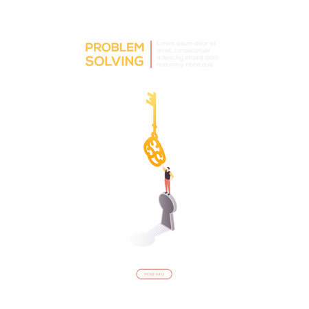 Problem solving - modern isometric vector web banner on white background with copy space for text. High quality composition with businessman standing on a keyhole, holding a key, finding a solution Ilustração